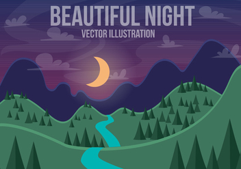 Free Beautiful Night Vector Landscape - Free vector #372053