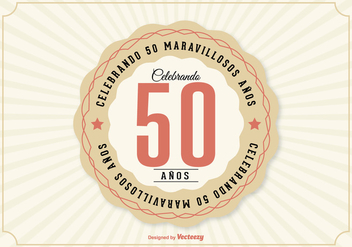 50th Anniversary Illustration In Spanish Language - Free vector #372203