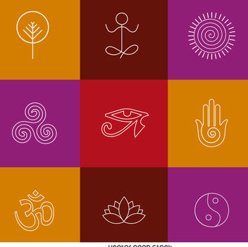 Thin line yoga zen icons - Free vector #372273