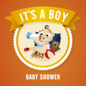 Baby shower badge card - Free vector #372293