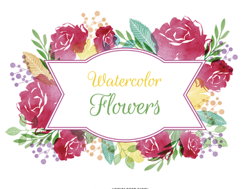Watercolor flower label - vector #372803 gratis