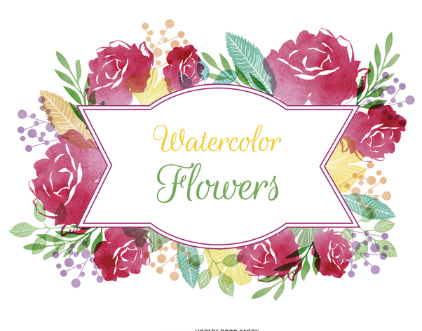 Watercolor flower label - vector gratuit(e) #372803