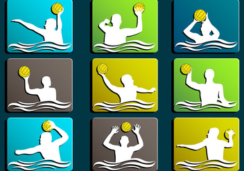 Water Polo Silhouette icon - vector gratuit #372863