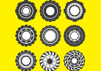 Tractor Tire Vector Icons - бесплатный vector #372983
