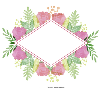 Watercolor floral badge - vector gratuit #373033