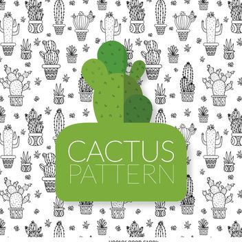 Cactus drawing pattern - Kostenloses vector #373073