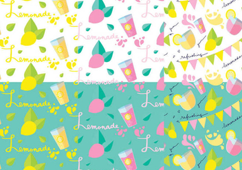 Lemonade Stand Pattern Set - бесплатный vector #373923