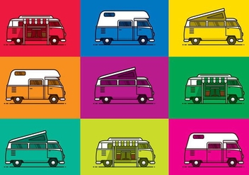 BRIGHT VW CAMPER VECTORS - бесплатный vector #374053