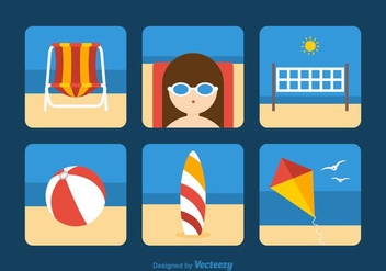 Free Beach Theme Vector Icons - Kostenloses vector #374063