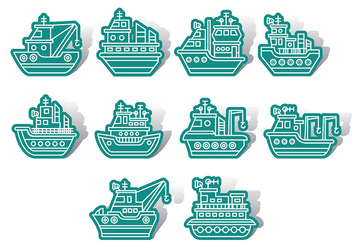 Tugboat icons - Free vector #374093