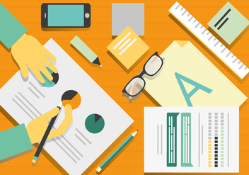 Free Vector Designers Desk Illustration - Free vector #374273