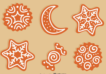 Christmas Ginger Bread Set Vector - vector gratuit(e) #374423