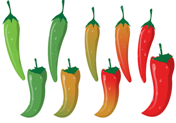 Red Hot Chili With Green Curved Stalk - vector gratuit #374563