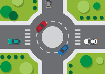 Top View Roundabout - vector gratuit #374853