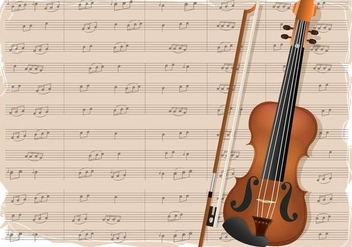 Violin With Notes Background - vector gratuit #374933