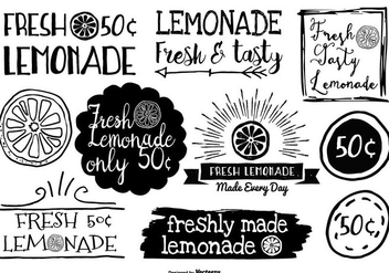 Hand Drawn Style Lemonade Labels - бесплатный vector #375273