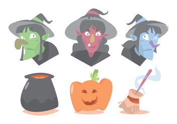 Witch and Halloween Vector Set - Free vector #375323