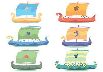 Viking Ship Vector Set - Free vector #375623