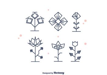 Geometrical Flowers Vector - Free vector #375833