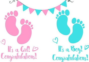 Baby Footprint Birth Announcement Vector - Free vector #375933