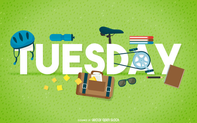 Tuesday bike element banner - Free vector #376593