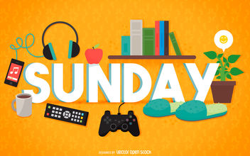 Sunday relax sign - vector gratuit #376603