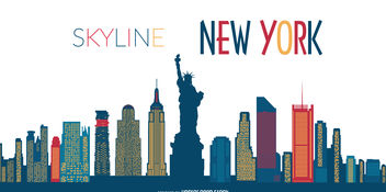 New York skyline silhouette - vector #376643 gratis