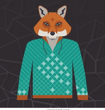Illustrated fox hoodie - Free vector #376683