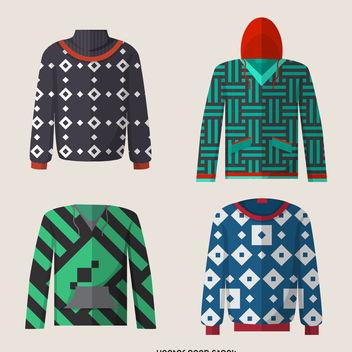 Flat hoodie designs set - Free vector #376783