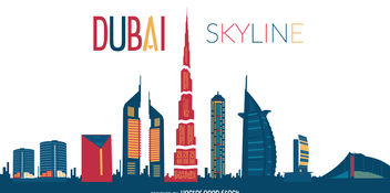 Dubai skyline silhouette illustration - бесплатный vector #376973