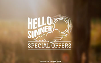 Summer offers label design - vector gratuit #377063