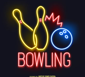 Neon bowling sign - Free vector #377203