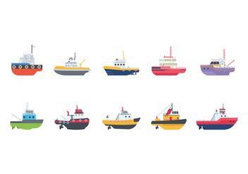Free Tugboat Vectors - vector gratuit #377643