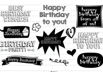 Happy Birthday Doodle Set - Free vector #377743