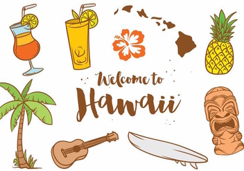 Hawaii Icon Vector Set - Free vector #377913