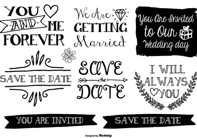 Hand Drawn Style Marriage Labels - Kostenloses vector #378063