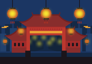 Vector China Town - vector gratuit #378083