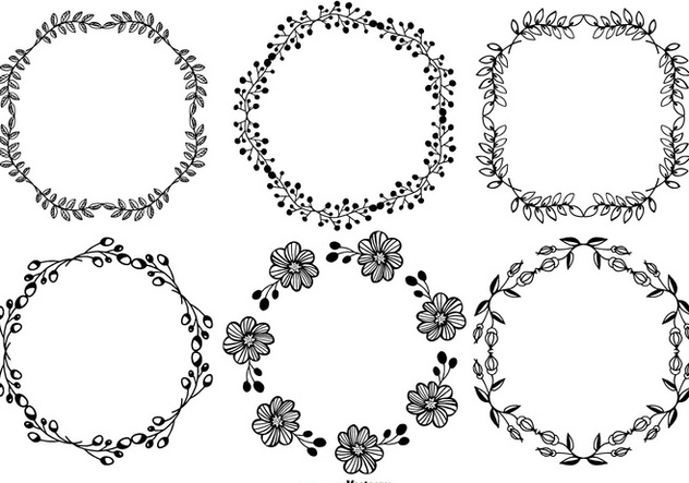 Hand Drawn Style Frames Set - vector gratuit(e) #378183