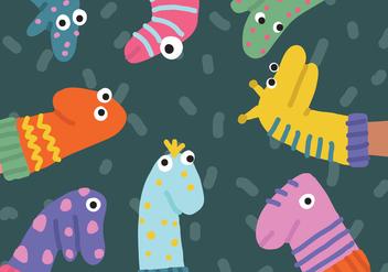 Cute Funny Socks Puppets Vectors - Kostenloses vector #378193