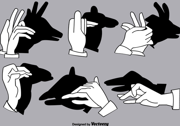 Set of Shadow Hand Puppets - Vector Elements - Free vector #378233