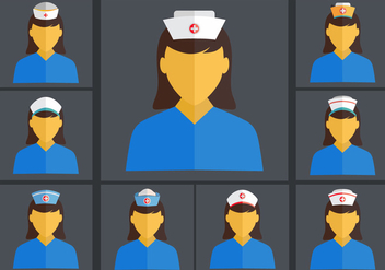 Nurse Cap Flat Vector set - Kostenloses vector #378273