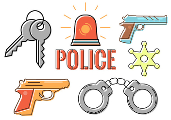 Police Accessories in Vector - vector #379313 gratis