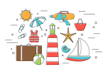Vector Set of Summer Icons - Kostenloses vector #379343