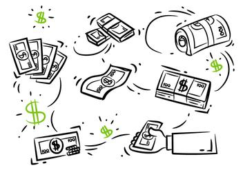 100 Dollar Doodle Sketch - Free vector #379483