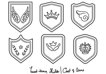 Blason - Hand-drawn Set - Free vector #379733