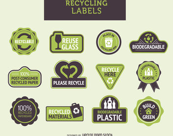 Recycling labels set - vector #379813 gratis
