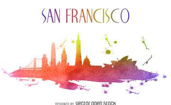 San Francisco colorful skyline illustration - Kostenloses vector #379893