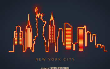 New York neon skyline - vector gratuit #380073