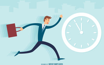 Man running late illustration - vector gratuit #380163