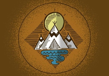 Outdoor Teepee Badge - Free vector #380373
